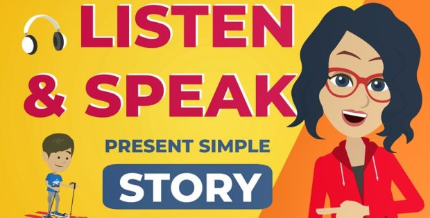 English present simple story to practice listening and speaking